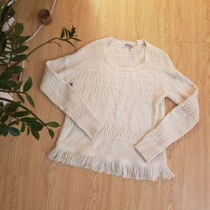 Rails Natalie fringe sweater cashmere blend ivory